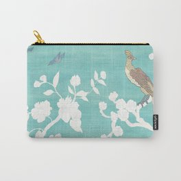 Chinoiserie Panels 3-4 White Scene on Teal Raw Silk - Casart Scenoiserie Collection Carry-All Pouch