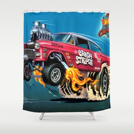 Hot Wheels Candy Striper 55 Gasser Poster Shower Curtain