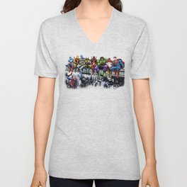 Superhero Lunch Atop A Skyscraper Unisex V-Neck
