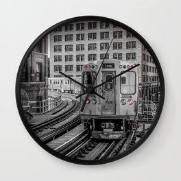 El Train Departing Merchandise Mart Chicago Train L Train Windy City Transit CTA Wall Clock