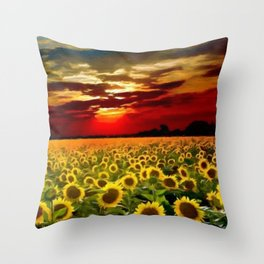 Sunflowers & Sunflower fields at Sunset oil on canvas landscape painting Throw Pillow