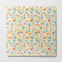 Colorful Retro Floral Metal Print