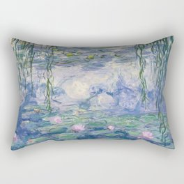 Water Lilies Claude Monet Fine Art Rectangular Pillow