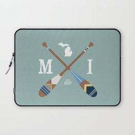 Paddle MI, Michigan Lake Life Painted Oars Laptop Sleeve
