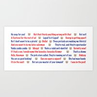 seinfeld Art Prints featuring Seinfeld quotes by Dr. Spaceman40