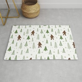 trees + yeti pattern in color Rug