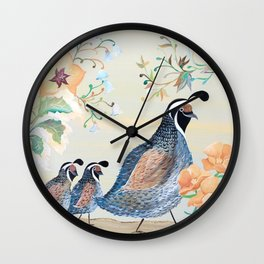 California Quails and Poppies Wall Clock