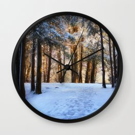 A Winter Morning in the Woods Wall Clock