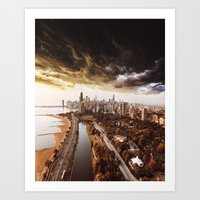 chicago aerial view Art Print