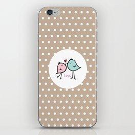 Love Birds with Beige Pattern iPhone Skin