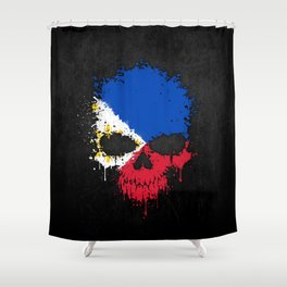 Flag of Philippines on a Chaotic Splatter Skull Shower Curtain