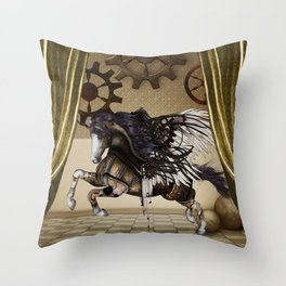 Wonderful dark steampunk unicorn with wings Throw Pillow