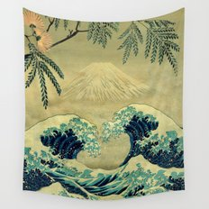 The Great Blue Embrace at Yama Wall Tapestry