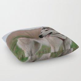 Siberian Husky sled dog Floor Pillow