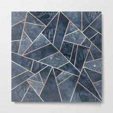 Soft Dark Blue Stone Metal Print