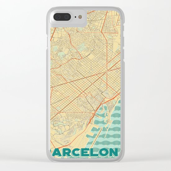 Barcelona Map Retro Clear iPhone Case