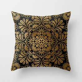 Sophisticated Black and Gold Art Deco Pattern Throw Pillow