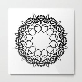 Black lace round ornament on a white background . Mandala . Metal Print