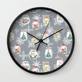 Christmas Jars Grey Wall Clock