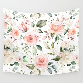 Sunny Floral Pastel Pink Watercolor Flower Pattern Wall Tapestry