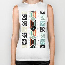 Abstract geometrical black orange ivory green squares polka dots Biker Tank