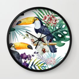 Tropical Bird Pattern 04 Wall Clock