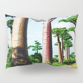 The Disappearing Giant Baobab Trees of Madagascar Landscape Painting Pillow Sham