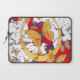 YELLOW  BUTTERFLIES IN WHITE & RED ABSTRACT Laptop Sleeve