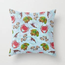 Seafood Medley - Water Throw Pillow