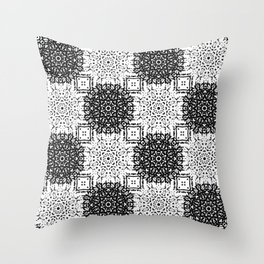 Black and White Gothic Lacy Mandala and Checker Tile Throw Pillow
