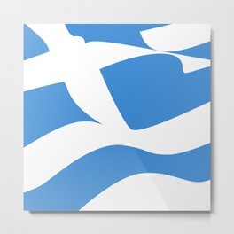 Greek Flag the Wisdom of God, Freedom and Country Metal Print