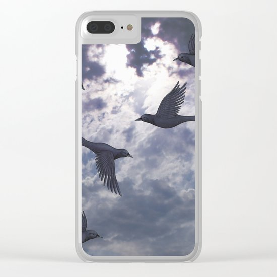 crows in the stormy sky Clear iPhone Case