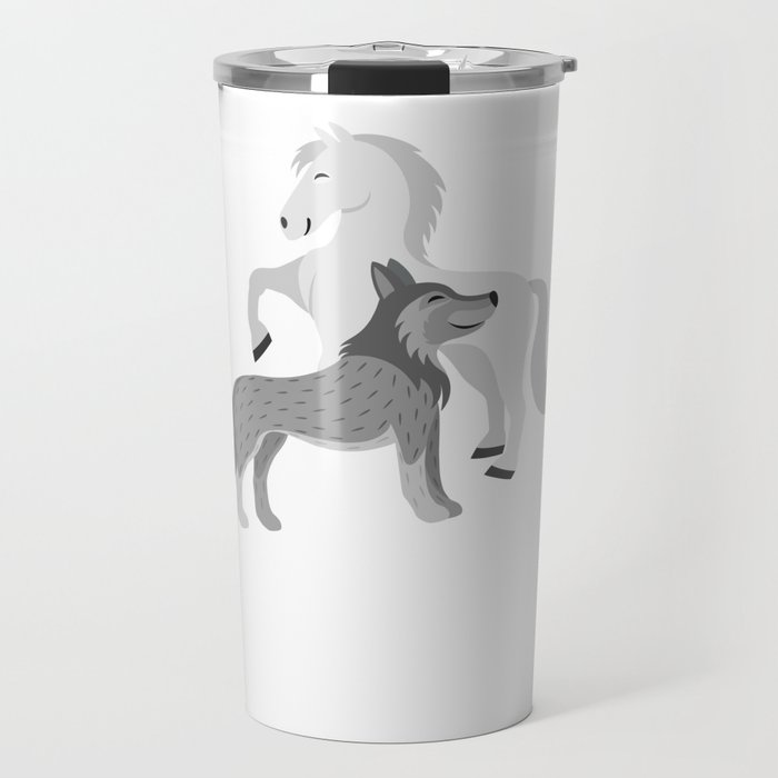 Horse And Wolf Horse Lover Equestrian Rider Travel Mug