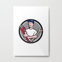 Handyman Spanner Monkey Wrench Circle Cartoon Metal Print