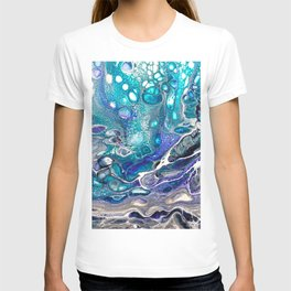 Abstract Blue Silver Paint Colorful Painting Artistic Messy Texture T-shirt