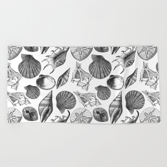 Sea and Ocean Life-Shell Pattern-Mix & Match with Simplicity of life Beach Towel