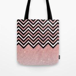 Modern black rose pink glitter lavender marble chevron Tote Bag