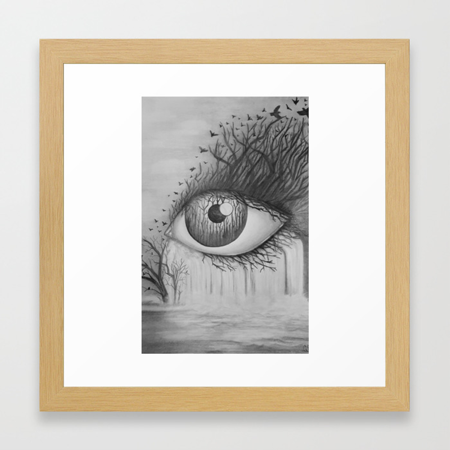 Eye with waterfall pencil drawing framed art print