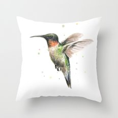 Hummingbird Watercolor Bird Animal Ruby Throated Throw Pillow