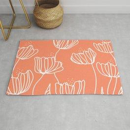 Peach Flower Doodles Rug