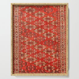 Southwest Shapes I // Bright Colorful Red Orange Green Creme Ornate Southwestern Tuscan Rug Pattern Serving Tray