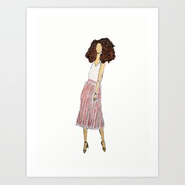 lady with pleated pink skirt Art Print