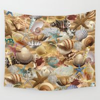 shell Wall Tapestries featuring Sea Shell Mania by LLL Creations