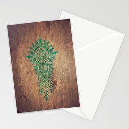 emerald green rustic mandala Stationery Cards
