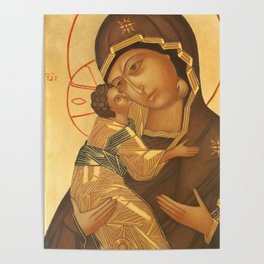 Orthodox Icon of Virgin Mary and Baby Jesus Poster