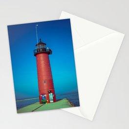 Kenosha North Pier Light Red Lake Michigan Lighthouse Wisconsin Stationery Cards