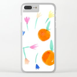 Oranges and Flowers Clear iPhone Case