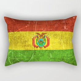 Vintage Aged and Scratched Bolivian Flag Rectangular Pillow
