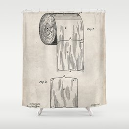 Toilet Paper Patent - Bathroom Art - Antique Shower Curtain