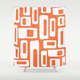 Retro Mid Century Modern Abstract Pattern 335 Orange Shower Curtain